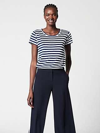 Winser London Pure Linen Striped T-Shirt, Navy