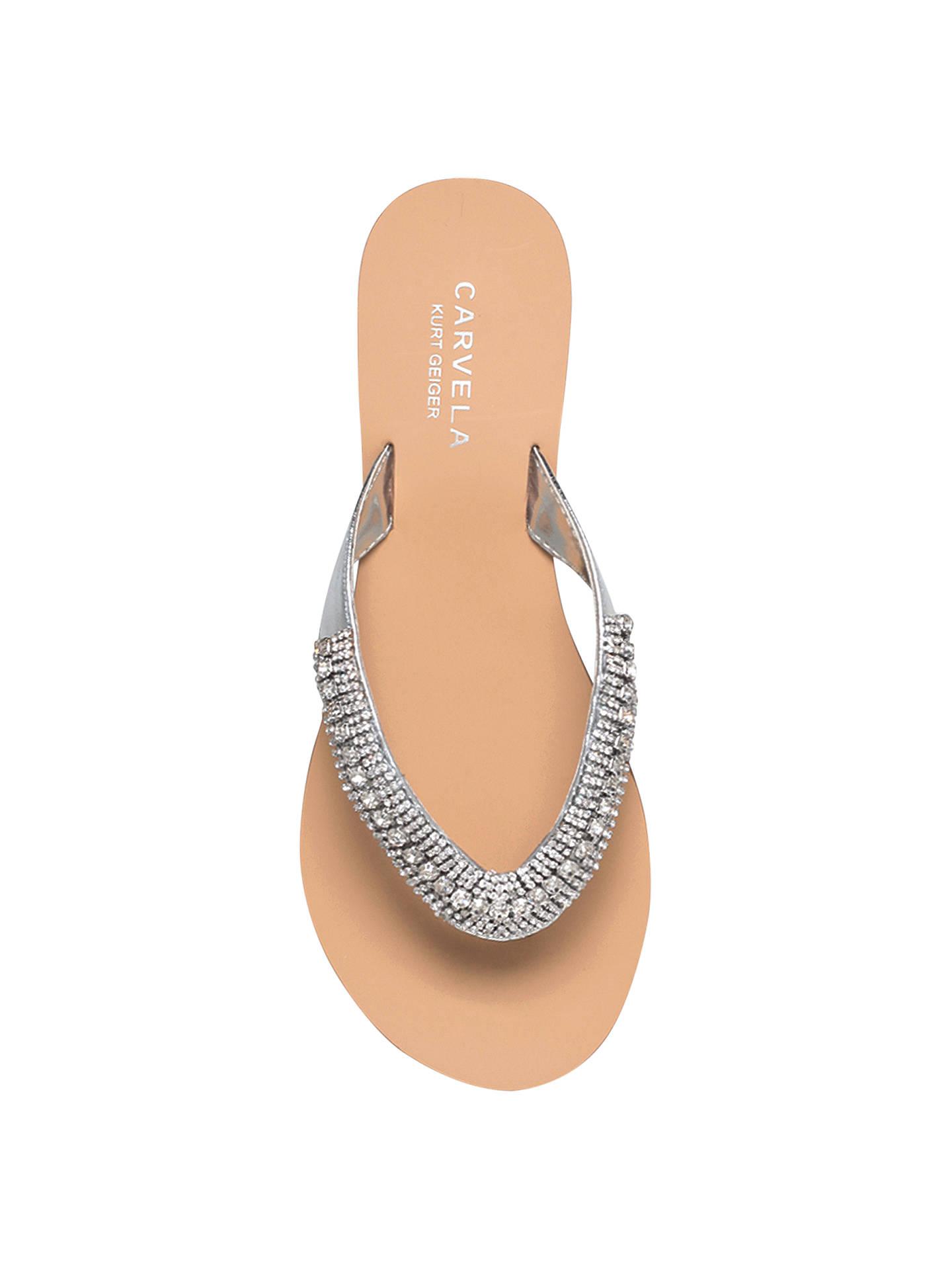 3bef10c0d8 Buy Carvela Breanne 2 Embellished Flat Sandals, Silver Leather, 3 Online at  johnlewis.