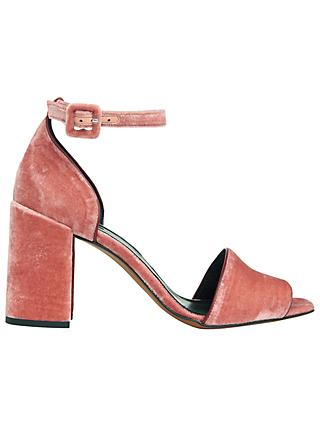 Whistles Hedda Velvet Block Heeled Sandals