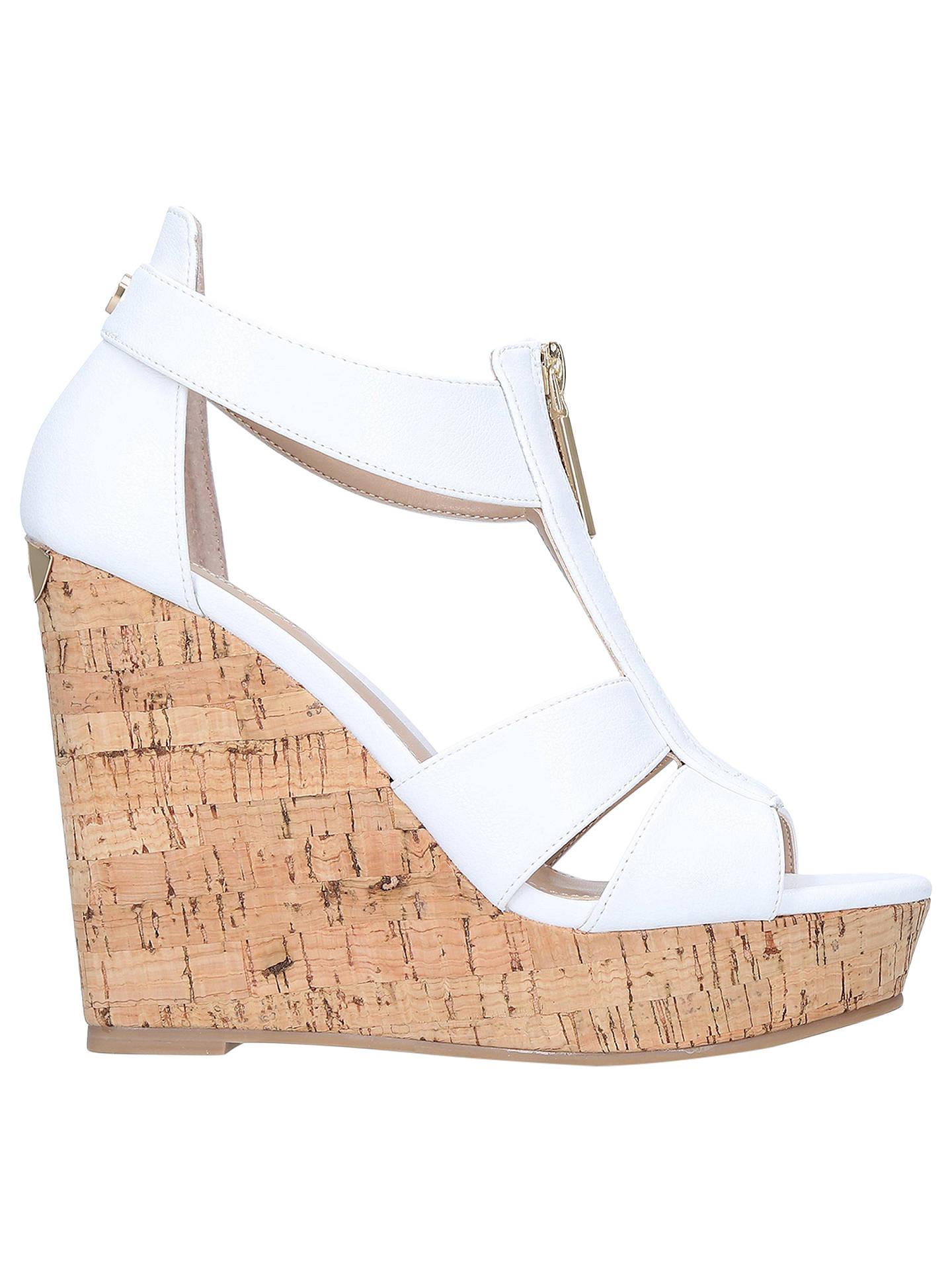 BuyCarvela Krass Wedge Heel Sandals, White, 3 Online at johnlewis.com