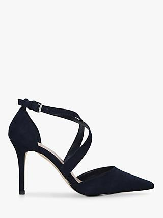 Carvela Kross3 Suedette Pointed Toe Cross Strap Heel Sandals, Navy