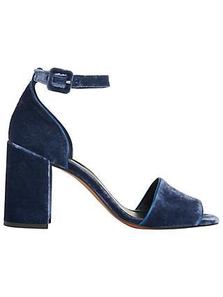 Whistles Hedda Velvet Block Heeled Sandals, Blue