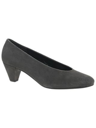 Gabor Gambit Block Heeled Court Shoes, Grey Suede