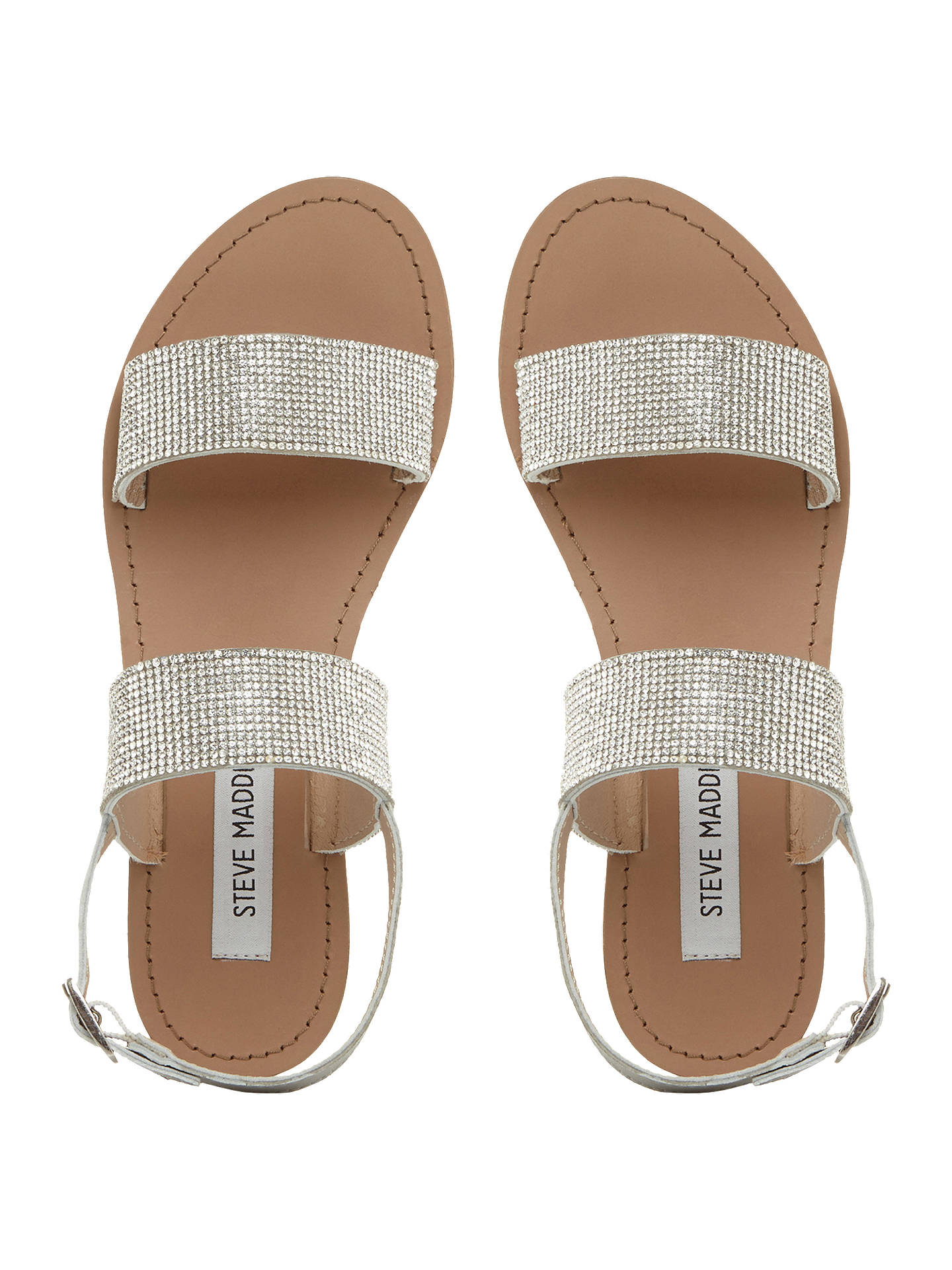 Buy Steve Madden Alea Embellished Sandals, Silver, 3 Online at johnlewis.com