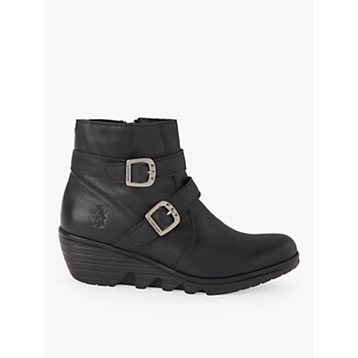 Fly London Perz Double Buckle Low Wedge Ankle Boots