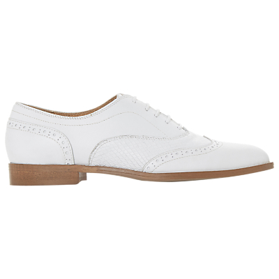 Dune Black Flaine Lace Up Brogues, White Leather