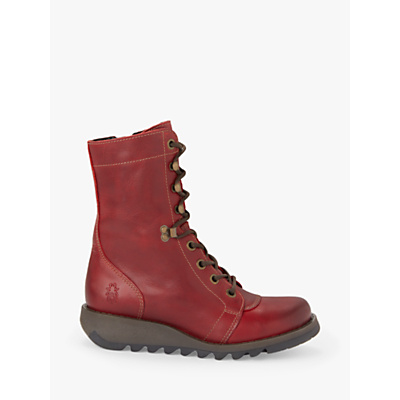 Fly London SITE360Fly Lace Up Ankle Boots, Red Leather