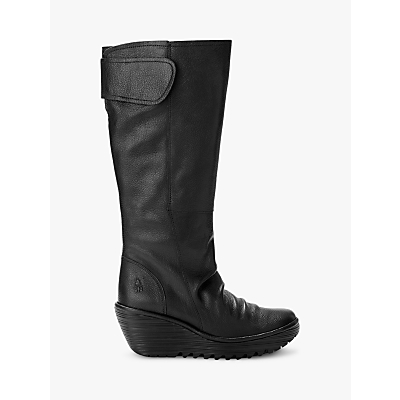 Fly London YULO688Fly Wedge Heeled Knee High Boots, Black Leather