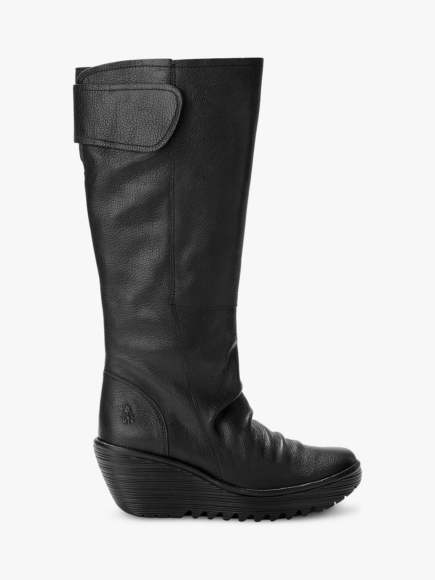 71fdfc1171c Women s Shoes Fly London Yulo Black Womens Leather Knee High Wedge Boots  Boots