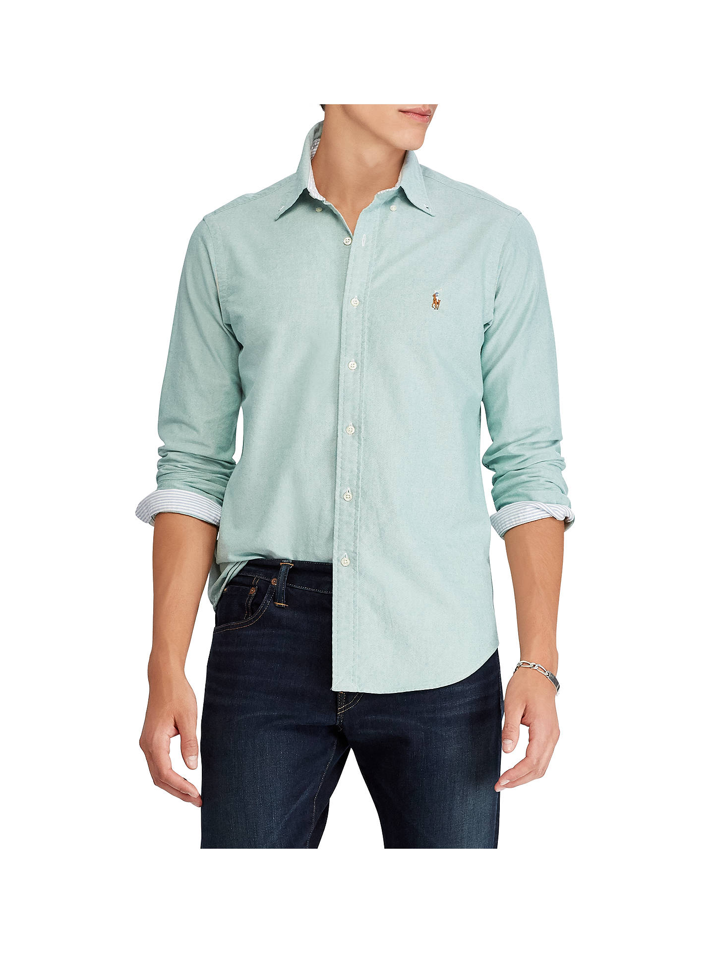 BuyPolo Ralph Lauren Long Sleeve Oxford Shirt, Green, XL Online at johnlewis.com