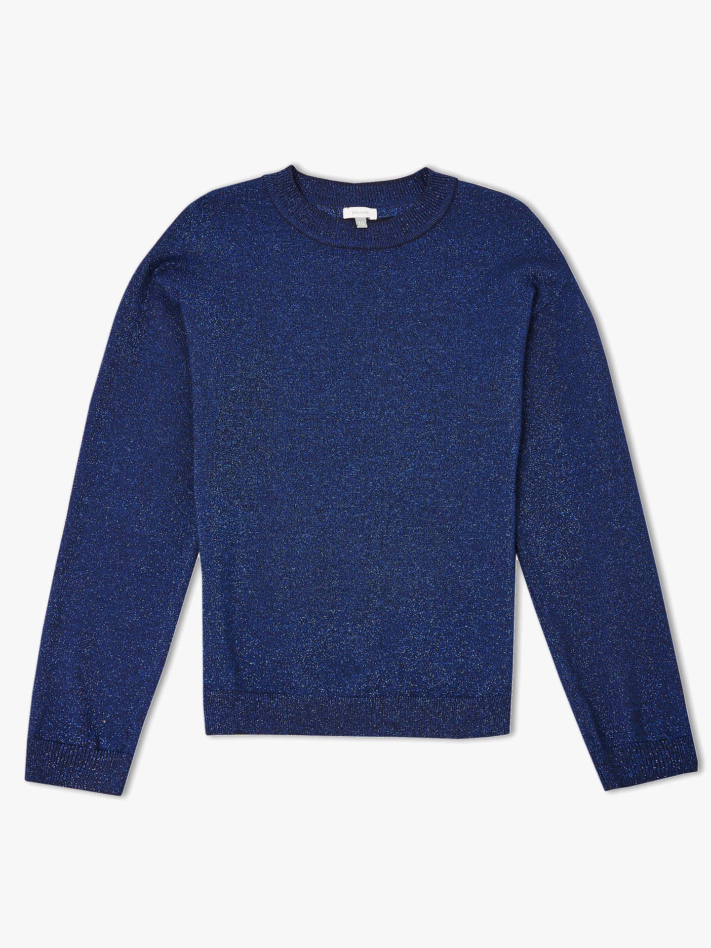 0cb5170aba8 John Lewis & Partners Girls' Glitter Knitted Jumper, Navy