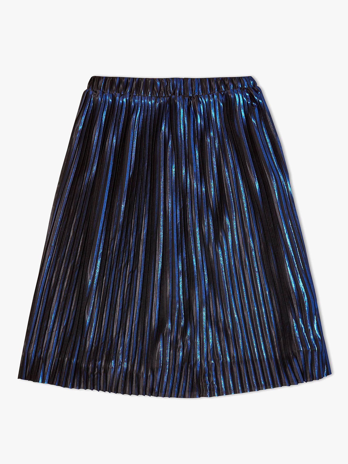 BuyJohn Lewis & Partners Girls' Metallic Pleated Skirt, Blue, 8 years Online at johnlewis.com