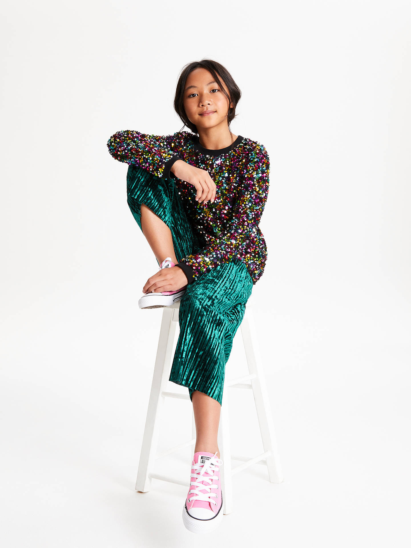 Buy John Lewis & Partners Girls' Velvet Pleated Trousers, Green, 8 years Online at johnlewis.com