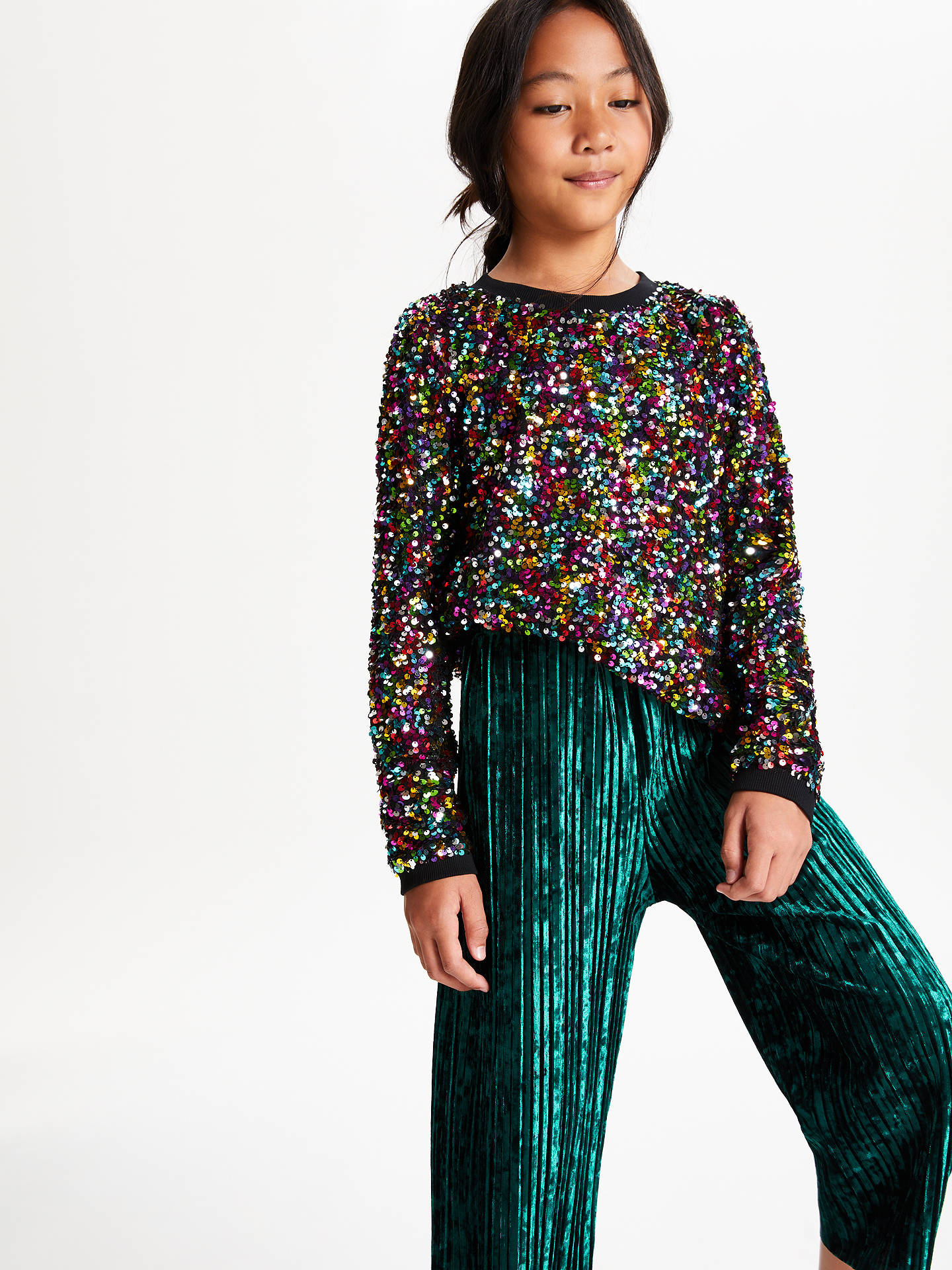 Buy John Lewis & Partners Girls' Velvet Pleated Trousers, Green, 12 years Online at johnlewis.com