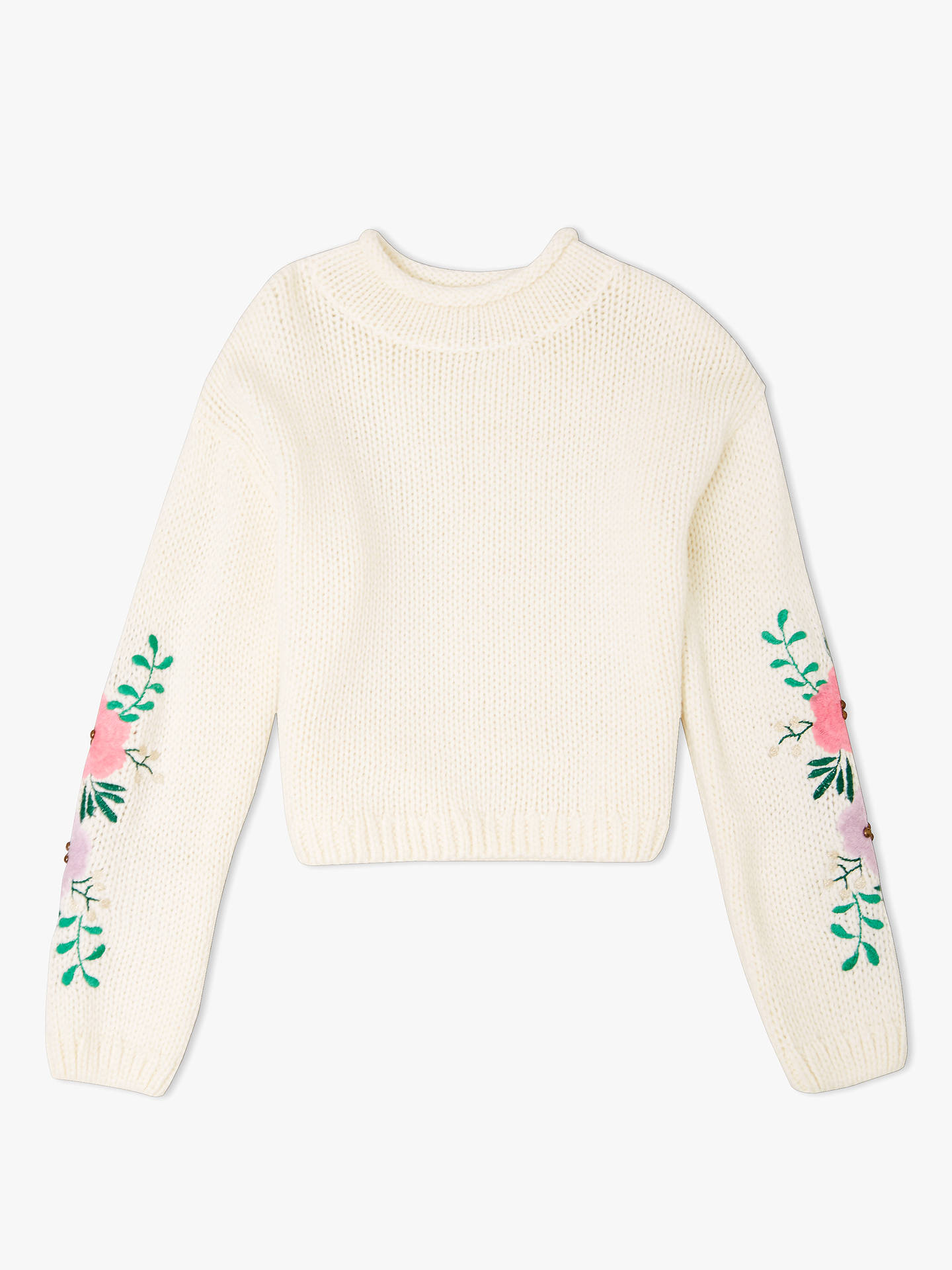 Buy John Lewis & Partners Girls' Floral Embroidered Knitted Jumper, Cream, 8 years Online at johnlewis.com