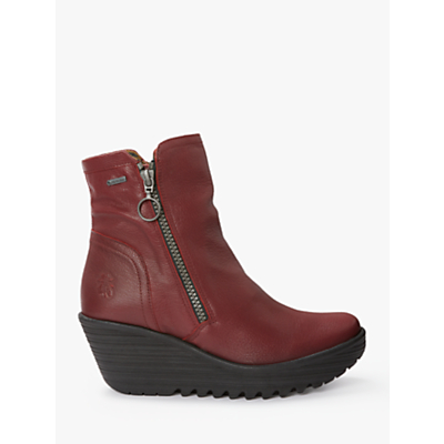 Fly London Gortex YOLK377Fly Side Zip Ankle Boots, Red Leather