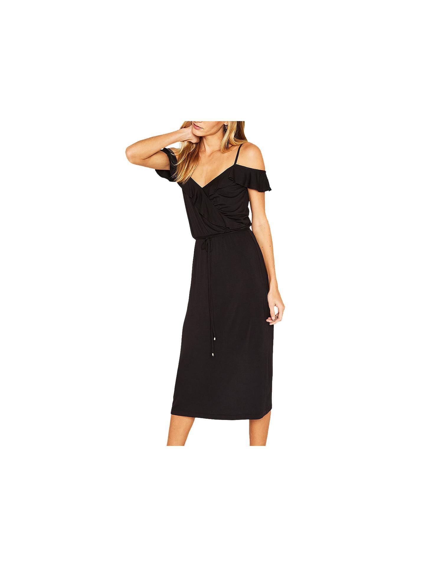 5e454c7bcd5c Buy Oasis Ruffle Wrap Midi Dress, Black, XS Online at johnlewis.com ...