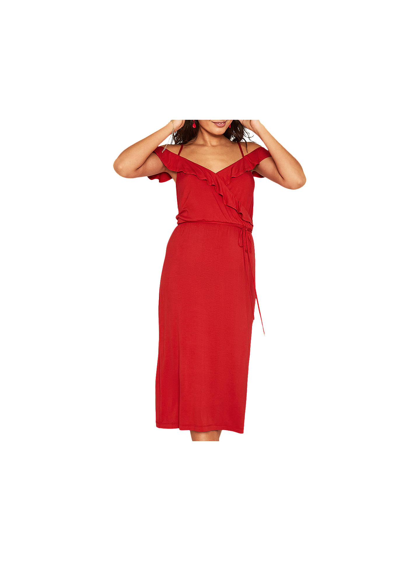 260d8ef486aa Buy Oasis Ruffle Wrap Midi Dress, Mid Red, XS Online at johnlewis.com ...