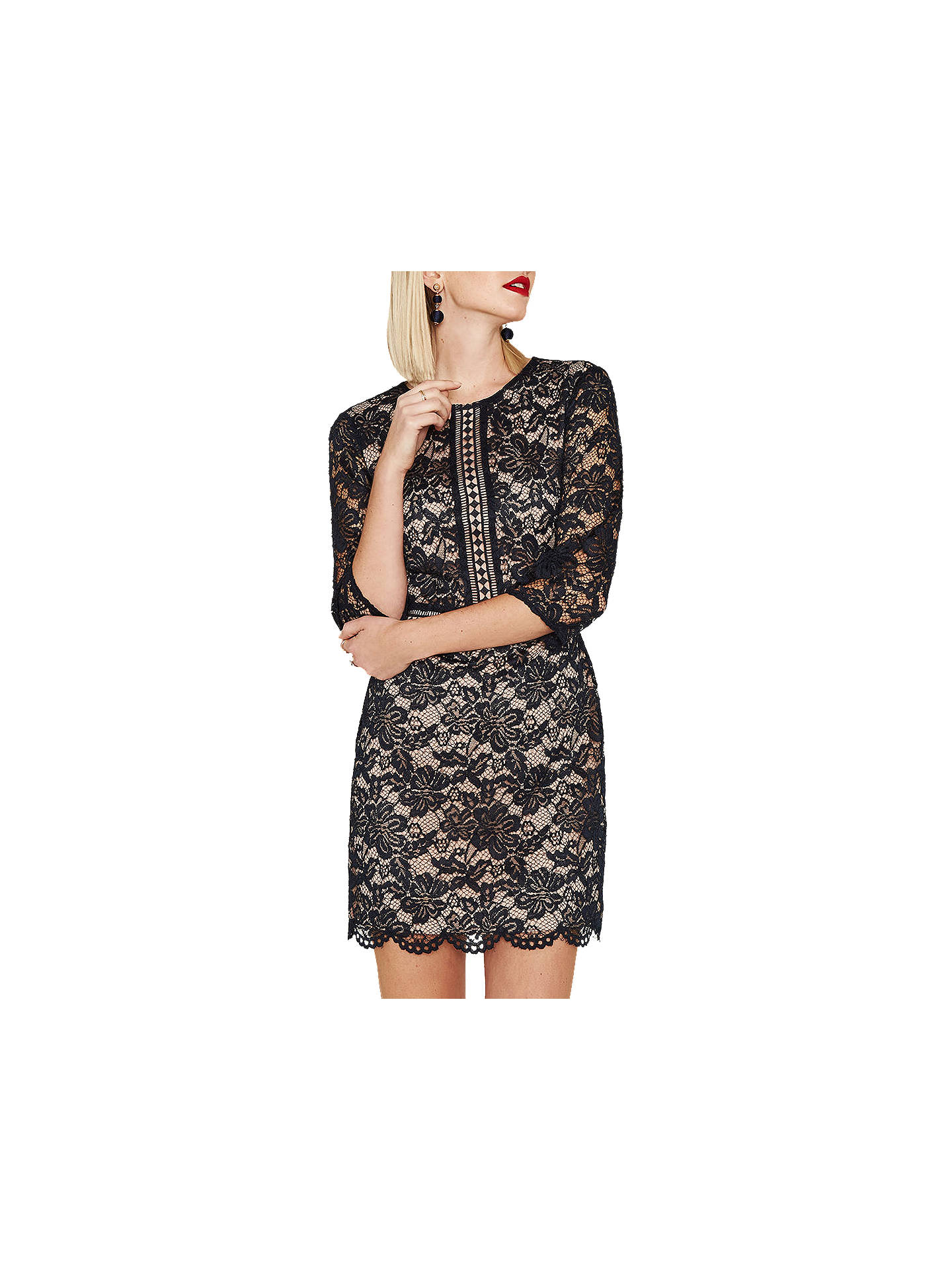 4246c19c309d Buy Oasis 3/4 Sleeve Lace Dress, Navy, 6 Online at johnlewis.