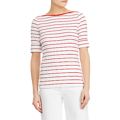 Lauren Ralph Lauren Lila Knitted Top, White/Lipstick Red