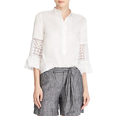 Lauren Ralph Lauren Elleada Cut Out Flare Sleeve Shirt, White