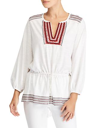 Lauren Ralph Lauren Nasahwna Bohemian Embroidered Top, Soft White