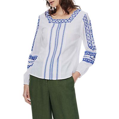 Brora Embroidered Folk Blouse, White/Cobalt