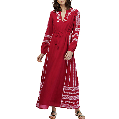Brora Embroidered Maxi Kaftan Dress, Port Red