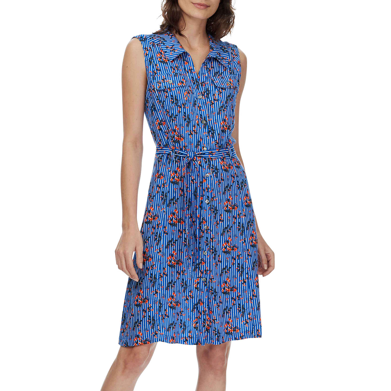 Brora Floral Stripe Shirt Dress, Blue at John Lewis
