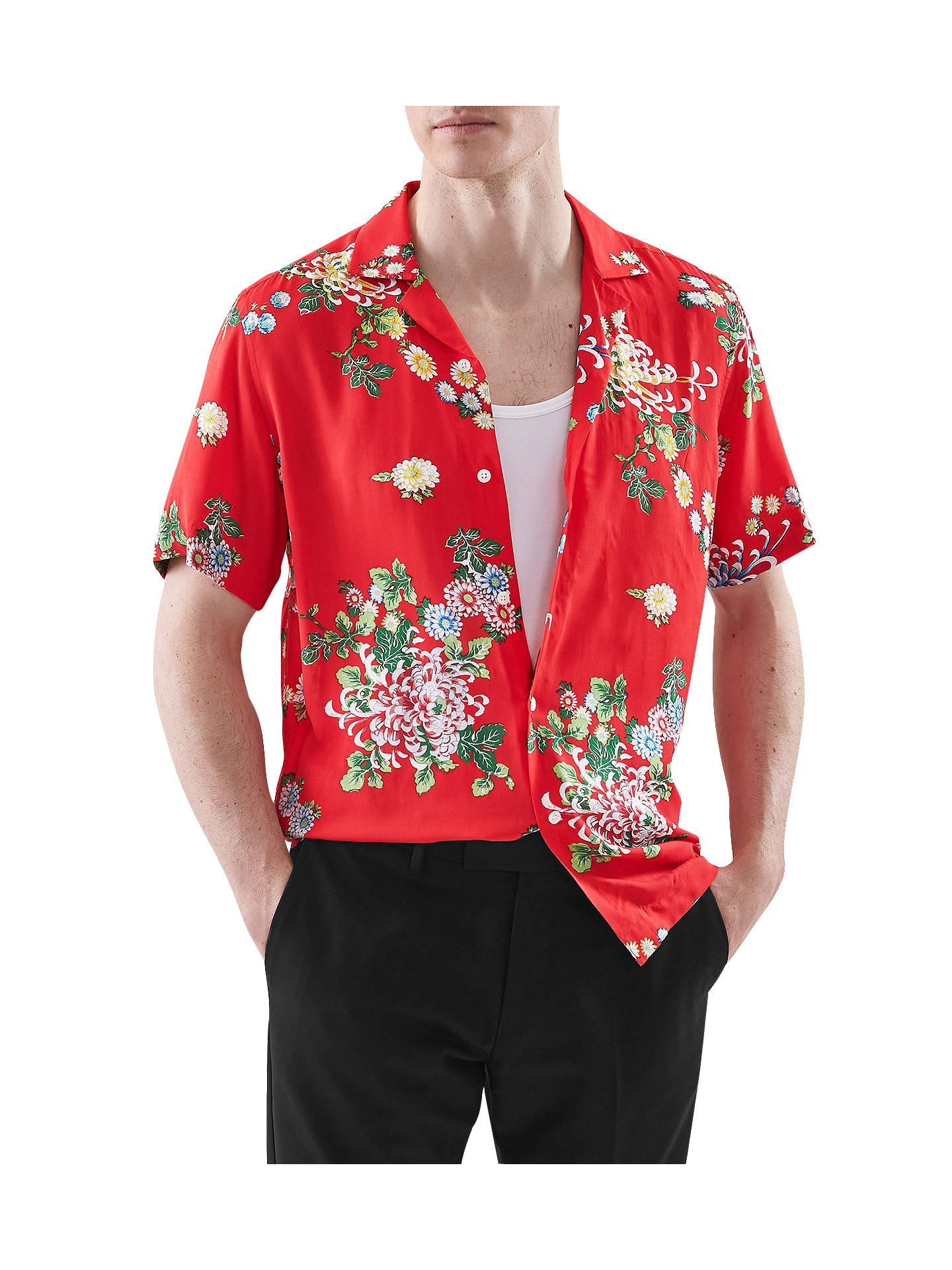 768d45eeea100 Buy Reiss Mimi Short Sleeve Floral Shirt, Red, S Online at johnlewis.com ...