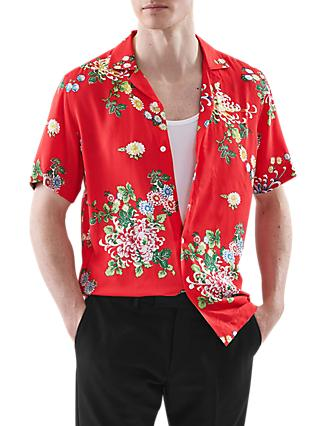 Reiss Mimi Short Sleeve Floral Shirt, Red