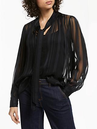 AND/OR Jinxie Satin Stripe Top, Black