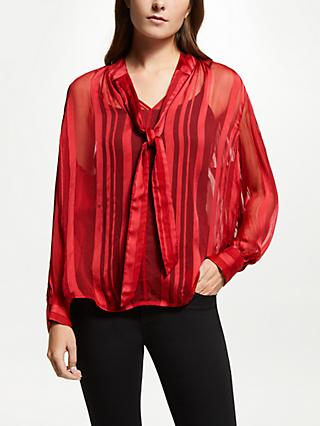 AND/OR Jinxie Satin Stripe Top, Red