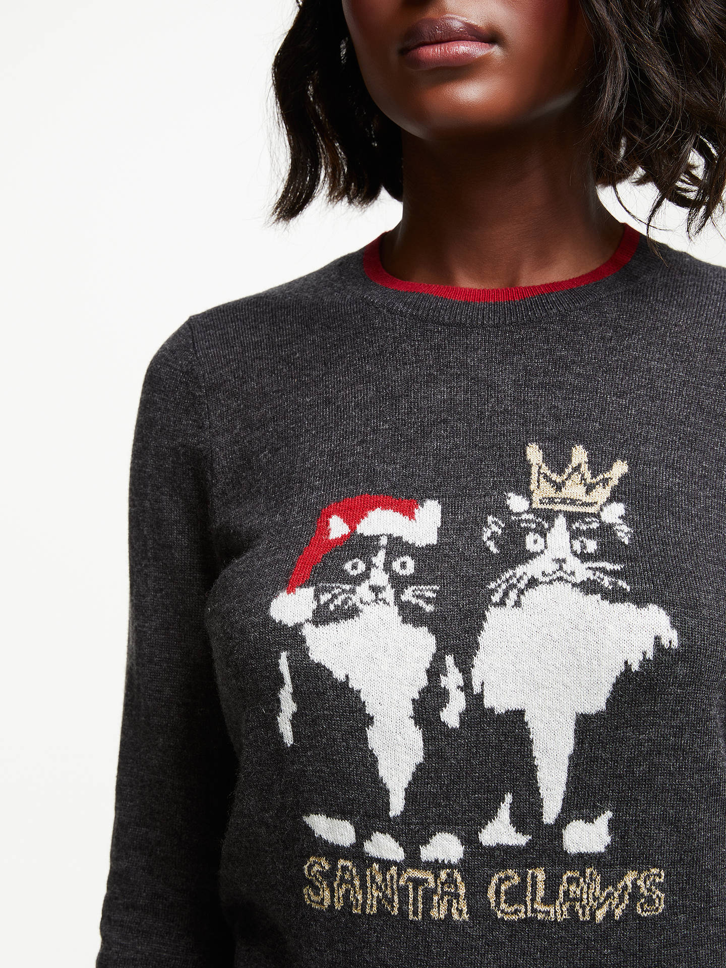 Buy Collection WEEKEND by John Lewis Santa Claws Cats Christmas Jumper, Grey/Multi, 8 Online at johnlewis.com