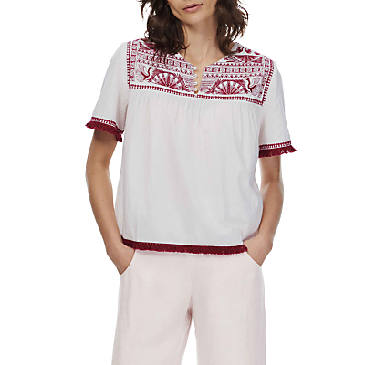 Brora Embroidered Cotton Blouse, White/Beetroot