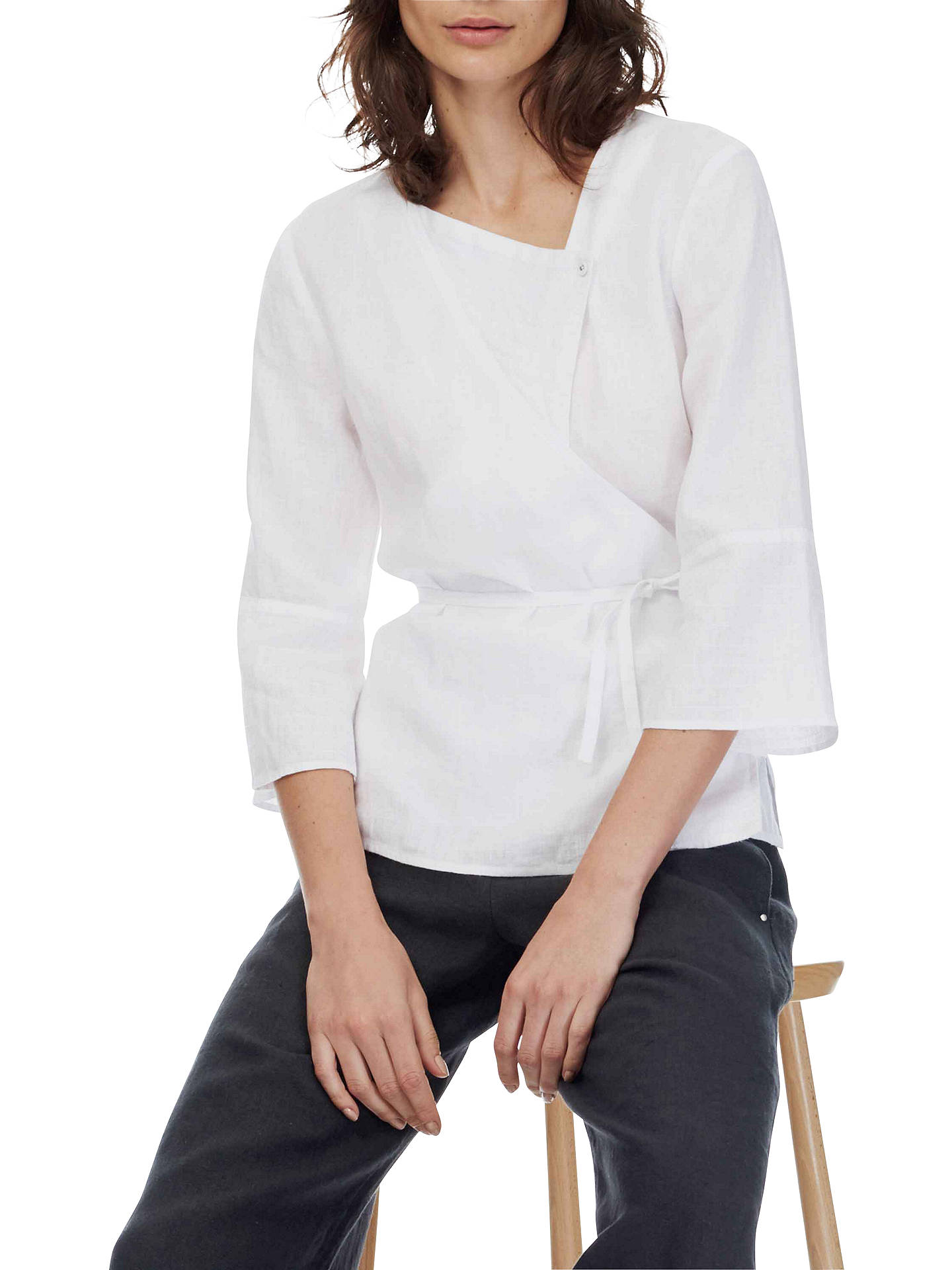 8b6fcc49a67dde Buy Brora Linen Kimono Blouse, White, 6 Online at johnlewis.com ...