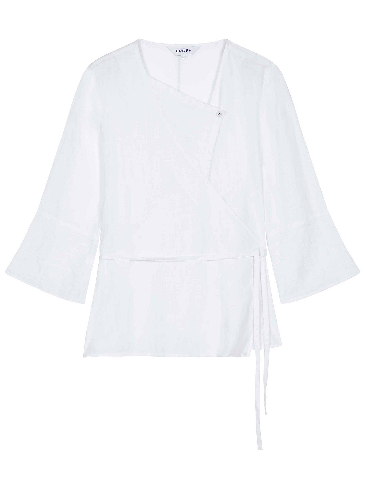 f96e05d2773086 ... Buy Brora Linen Kimono Blouse, White, 6 Online at johnlewis.com ...