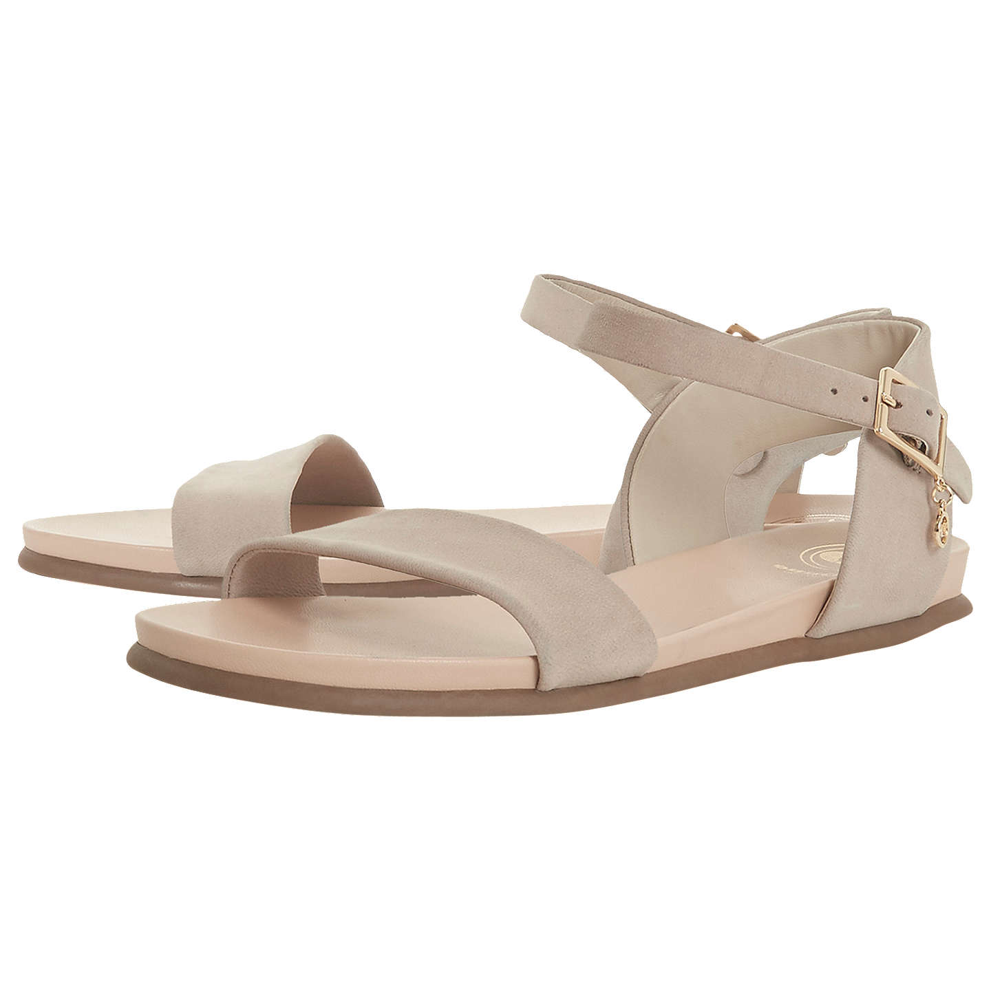BuyDune Londoner Softee Flat Sandals, Taupe, 3 Online at johnlewis.com