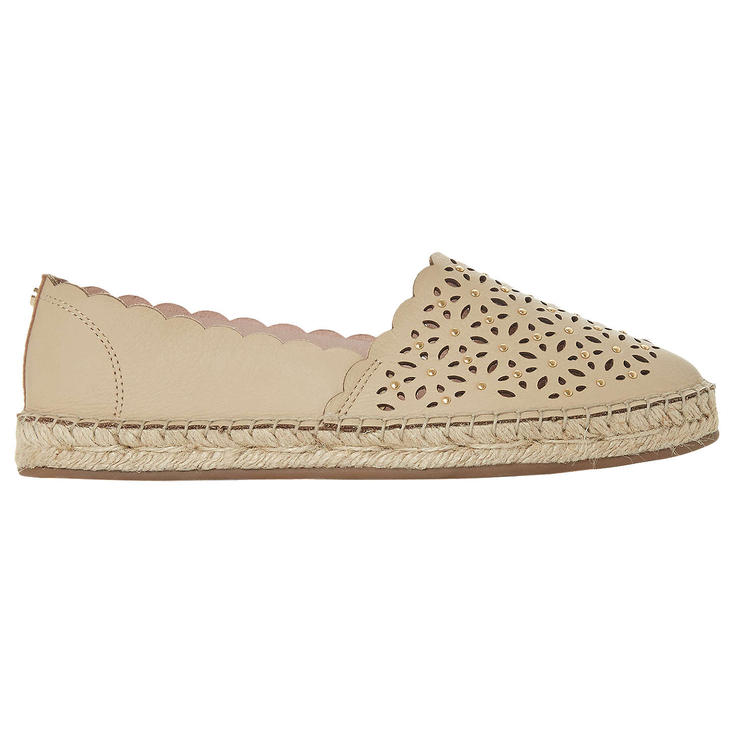BuyDune Gracelyn Scallop Edge Espadrilles, Nude Leather, 3 Online at johnlewis.com