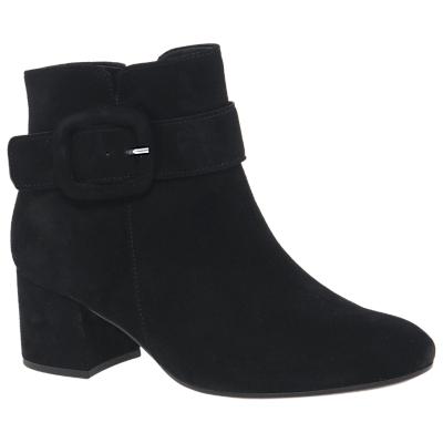 Gabor Capri Buckle Block Heel Ankle Boots, Black Suede