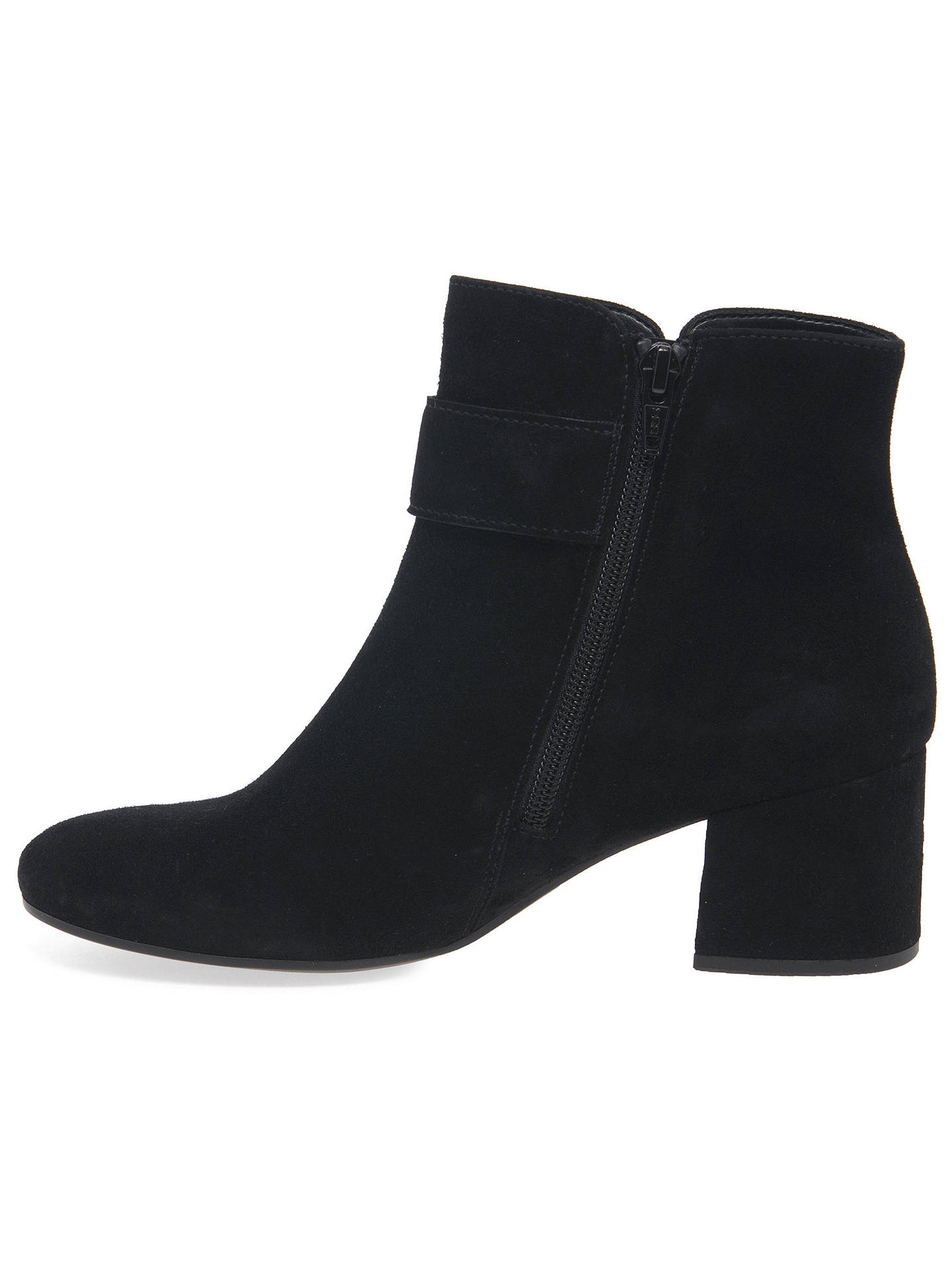 9ccee5f3638 Gabor Capri Buckle Block Heel Ankle Boots, Black Suede at John Lewis ...