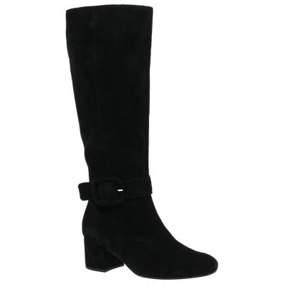 Gabor Carnation Block Heel Knee High Boots, Black Suede