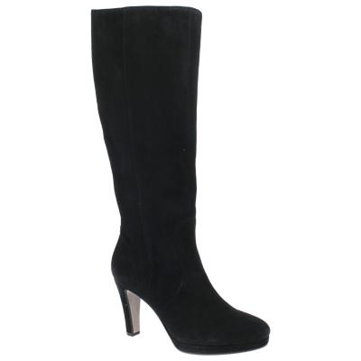Gabor Drama Cone Heeled Knee High Boots, Black Suede