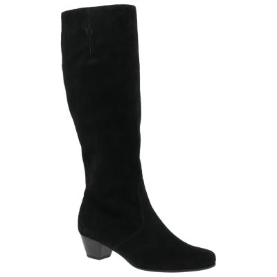 Gabor Finchie Wide Fit Block Heel Knee High Boots, Black Suede
