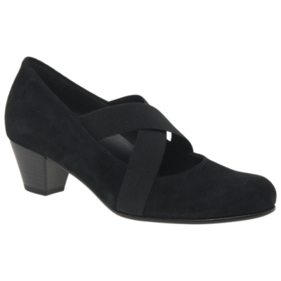 Gabor Marley Extra Wide Fit Block Heeled Court Shoes, Black Suede