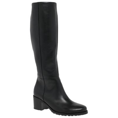 Gabor Missouri Wide Fit Block Heel Knee High Boots, Black Leather