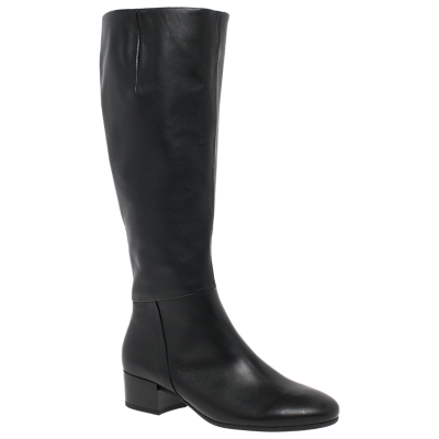 Gabor Cherry Extra Wide Block Heeled Knee High Boots, Black Leather