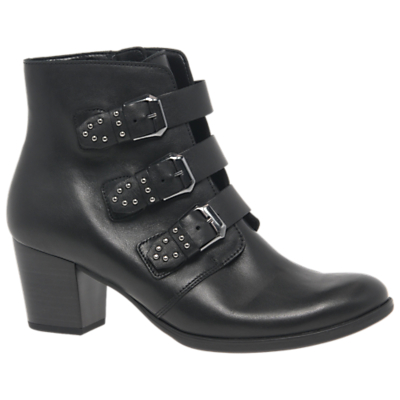 Gabor Fyler Triple Buckle Block Heel Ankle Boots, Black Leather
