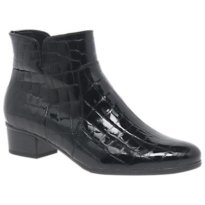 Gabor Delaware Crocodile Ankle Boot, Black Leather