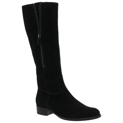 Gabor Crunch Block Heel Knee High Boots, Black Nubuck